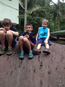 Boys on a Rock with Benny after our Hike.
