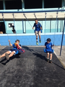 Boys on the swings at school!