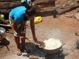 Angelina preparing rice for 20 for lunch