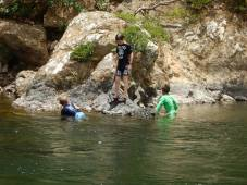 The boys swimming in the Chagres
