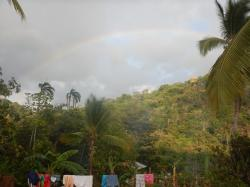 Rainbow over the village on our first evening.
