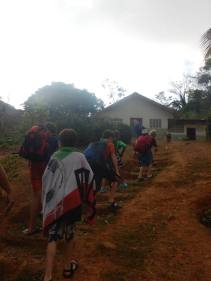 Marching up the hill to Valerioss house