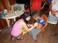 Christina checking Esteban's breathing